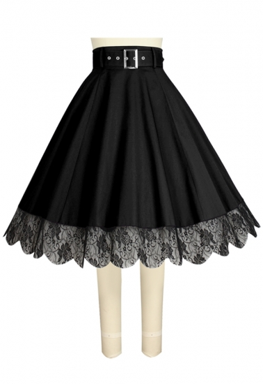 Chic Star - A-Line Belt with Lace Trim Skirt
